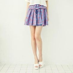 Tokyo Fashion - Tied Sleeve-Accent Plaid A-Line Skirt