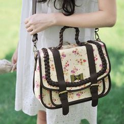 SUPER LOVER - Faux-Leather-Trim Floral Cross Bag