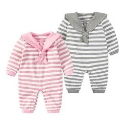 MOM Kiss - Baby Striped Long-Sleeve One-Piece