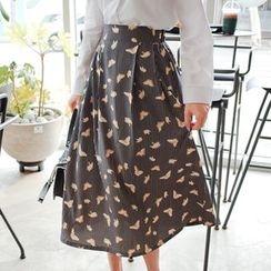 Cherryville - Butterfly Pattern Flare Long Skirt