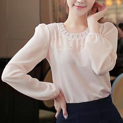 CLICK - Long-Sleeved Beaded Chiffon Blouse
