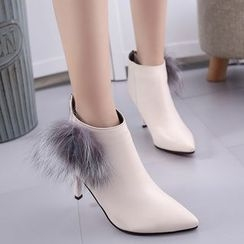 Zandy Shoes - Furry-Trim Heel Ankle Boots