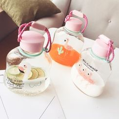 Wild Peach - 火鹤印花玻璃水瓶