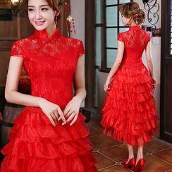 Bridal Workshop - Short Sleeve Tiered High-Low Wedding Cheongsam
