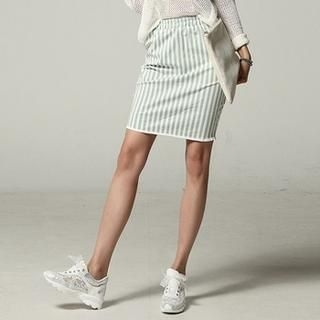 Koo - Band Waist Slit Back Striped Pencil Skirt