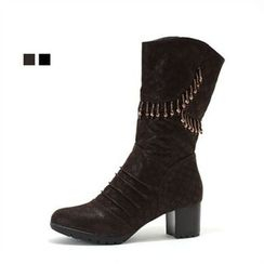 MODELSIS - Zip-Side Chunky-Heel Boots