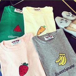 Eva Fashion - Short-Sleeve Fruit Embroidered T-Shirt