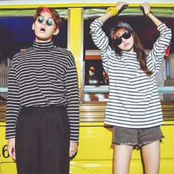 Melon Juice - Striped Turtleneck Long Sleeve T-Shirt