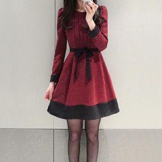 NINETTE - Long-Sleeved Tie-Sash Dress