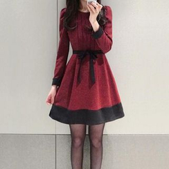 HEROWAN - Long-Sleeved Tie-Sash Dress
