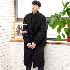 TOMONARI - Stand-Collar Lettering-Patch Long Parka