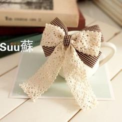 Suu - Bow Alligator Hair Clip / French Barrette Hair Clip / Brooch / Hair Tie