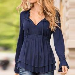 Rebecca - V-neck Frilled Long-Sleeve Dress