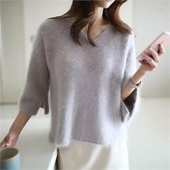 YOOM - Wool Blend V-Neck Knit Top