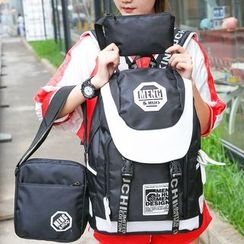 Sweet City - 套裝: 雙色調背包 + 斜挎包 + 收納包