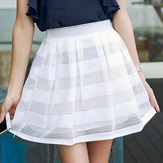 Romantica - Short-Sleeve Embellished-Neckline Paneled Top