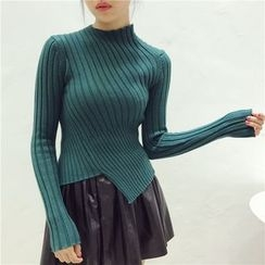 Octavia - Long-Sleeve Asymmetric Ribbed Knit Top
