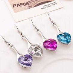 Feather World - Heart Drop Earrings
