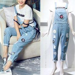 JOYIST - Applique T-Shirt / Distressed Suspender Jeans