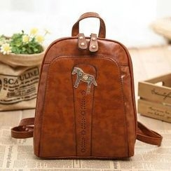 Vintage Kiss - Faux Leather Horse Accent Backpack
