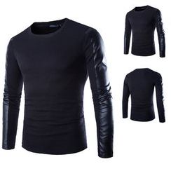 Hansel - Faux Leather Panel Long-Sleeve T-Shirt