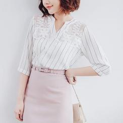 Tokyo Fashion - Lace Panel Stripe Chiffon Blouse