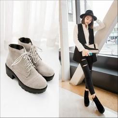幸福鞋坊 - 粗跟繫帶踝靴
