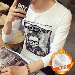 Alvicio - Printed Fleece Lined Long-Sleeve T-Shirt