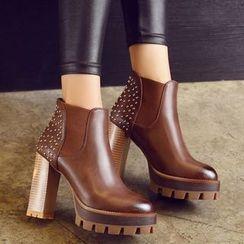 Gizmal Boots - 铆钉粗跟切尔西靴子