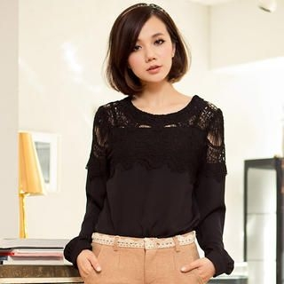 Lace-Yoke Chiffon Top