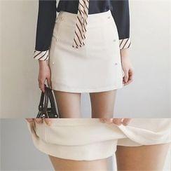 ode' - Button-Detail Mini Skirt