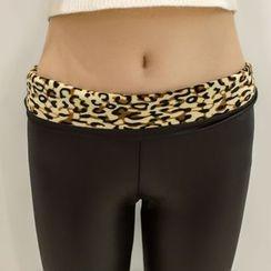 Meigo - Faux Leather Leopard Print Leggings