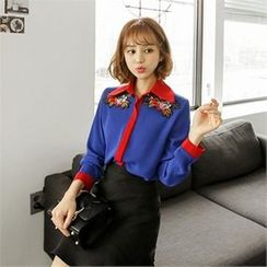 ZIZIBEZIRONG - Embroidered Color-Block Blouse