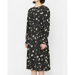Someday, if - Flower Patterned Midi Dress with Sash