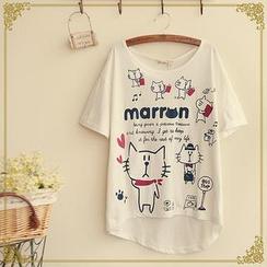 Fairyland - Short-Sleeve Cat Print T-Shirt