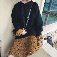 Cloud Nine - 假兩件碎花拼接套衫裙