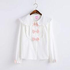 Moricode - Ruffle Trim Bow Accent Shirt