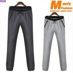 WIZIKOREA - Contrast-Waist Sweatpants
