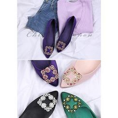 Chlo.D.Manon - Rhinestone-Buckle Pointy-Toe Satin Flats