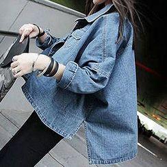 Yohana - Batwing Sleeve Denim Jacket