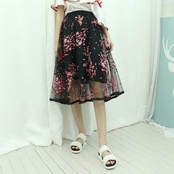 Dodostyle - Floral Patterned A-Line Tulle Skirt