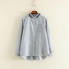 三木社 - 条纹长袖衬衫