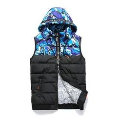 Blueforce - 迷彩拼接連帽夾棉馬甲