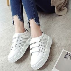 Charming Kicks - Velcro Faux-Leather Sneakers