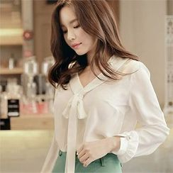 CHICLINE - Faux-Pearl Trim Ribbon Blouse