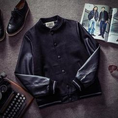 除一 - PU皮袖拼接背後刺繡黑色夾克外套