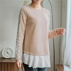 JOAMOM - Lace-Trim Appliqué T-Shirt