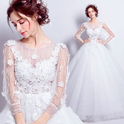 Angel Bridal - 3/4-Sleeve Applique Wedding Dress