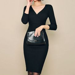 HOTPING - V-Neck Rib-Knit Bodycon Dress