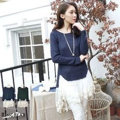 RingBear - Long-Sleeve Lace Hem Knit Top